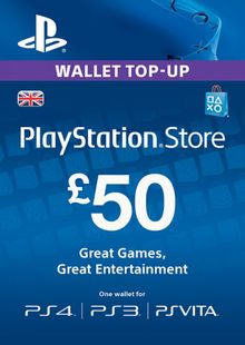 Playstation Network (PSN) Card - £50 (UK) clave barata para descarga