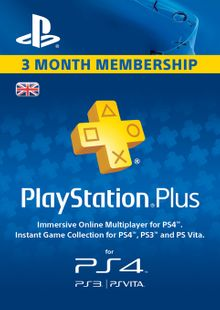 PlayStation Plus - 3 Month Subscription (UK) billig Schlüssel zum Download
