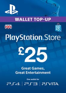 Playstation Network Card - £25 (PS Vita/PS3/PS4) cheap key to download