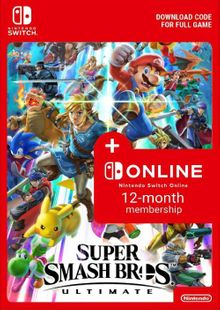 Super Smash Bros. Ultimate + 12 Month Membership Switch clé pas cher à télécharger