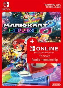Mario Kart 8 Deluxe + 12 Month Family Membership Switch billig Schlüssel zum Download