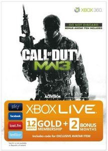 Xbox LIVE Gold Membership - Call of Duty--Modern Warfare 3: Branded Gold membership for 12 month with 2 Bonus Months including Avatar GAME NOT INCLUDED (Xbox 360)