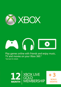 12 + 3 Month Xbox Live Gold Membership (Xbox One/360)