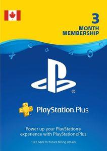 3 mois d'abonnement à Playstation Plus (PS+) - Code numérique PS3/ PS4/ PS5 (Canada)