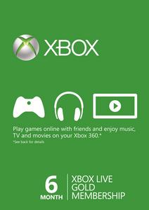 6 meses de suscripción a Xbox Live Gold (Xbox One/360)