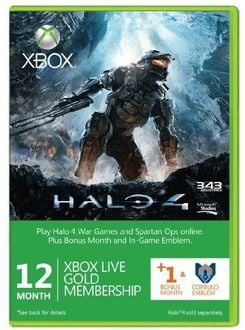 Xbox LIVE Gold 12-Month Membership Card with 1 Bonus Month - Halo 4 branded (Xbox 360)