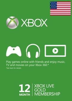 12 Month Xbox Live Gold Membership Xbox One/360 (USA)