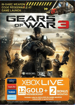 12 + 2 Month Xbox Live Gold Membership - Gears of War 3 Branded (Xbox One/360)
