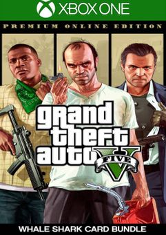 Grand Theft Auto V 5 Premium Online Edition and Megalodon Shark Card Bundle Xbox One (UK)
