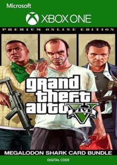 Grand Theft Auto V Premium Online Edition & Megalodon Shark Card Bundle Xbox One  (US)