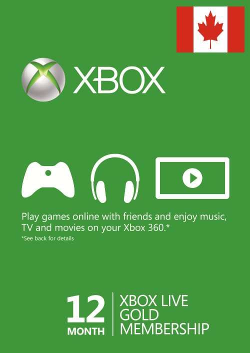 12 Month Xbox Live Gold Membership (Canada)