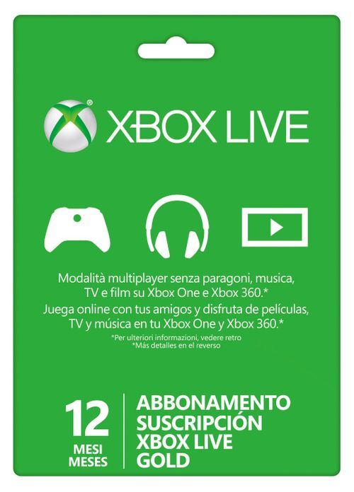 Suscripción Xbox Live Gold De 12 Meses (Xbox One/360)