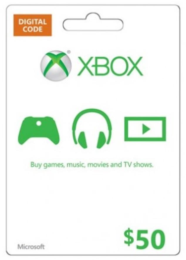Microsoft Gift Card - $50 (Xbox One/360)